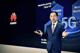 Ryan Ding, presidente de la Unidad de Negocio de Carrier de Huawei, durante su discurso 5G, Bring New Value